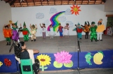 Children dressed as fruits, vegetables and flowers all set to entertain their parents!